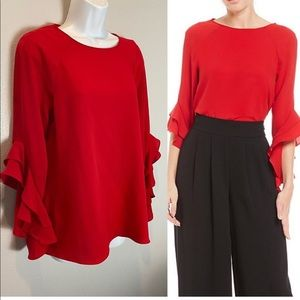 Cremieux red blouse ruffled sleeves Size XS